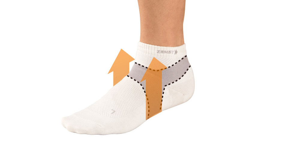 Arch support. Unique knitting technology supports and lifts up the arch of the foot.