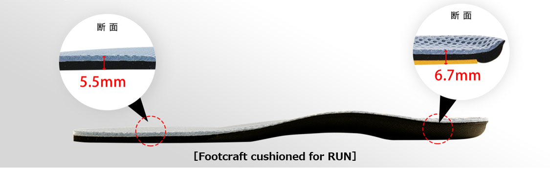 Footcraft cushioned for RUN 軽さと薄さの両立2